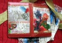Визитница: Карнавал в Венеции в красном / Business Card Holder: Carnival of Venice in red