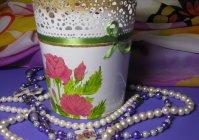 "Кашпо с ручной росписью: ""Розы"" / Ornamental flowerpot with hand painted: ""Roses"""