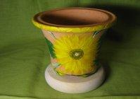"""Горшок для цветов с росписью: """"Солнечный цветок"""" / Flower pot wis hand painted: """"Sunny flower"""""""
