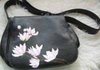 Ручная роспись кожаной сумки: Магнолии / Hand painted leather bags of the Magnolia
