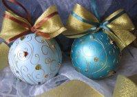 Ёлочные шарики с росписью и инкрустацией