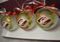 """Набор новогодних шариков с ручной росписью """"Спартак"""" / Set of Christmas balls with hand painted """"Spartak"""""""