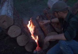Костер долгого горения из бревен - до 14 часов